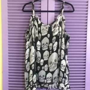 Tripp NYC Plus Size Skull Sheer Lined Camisole- 3X